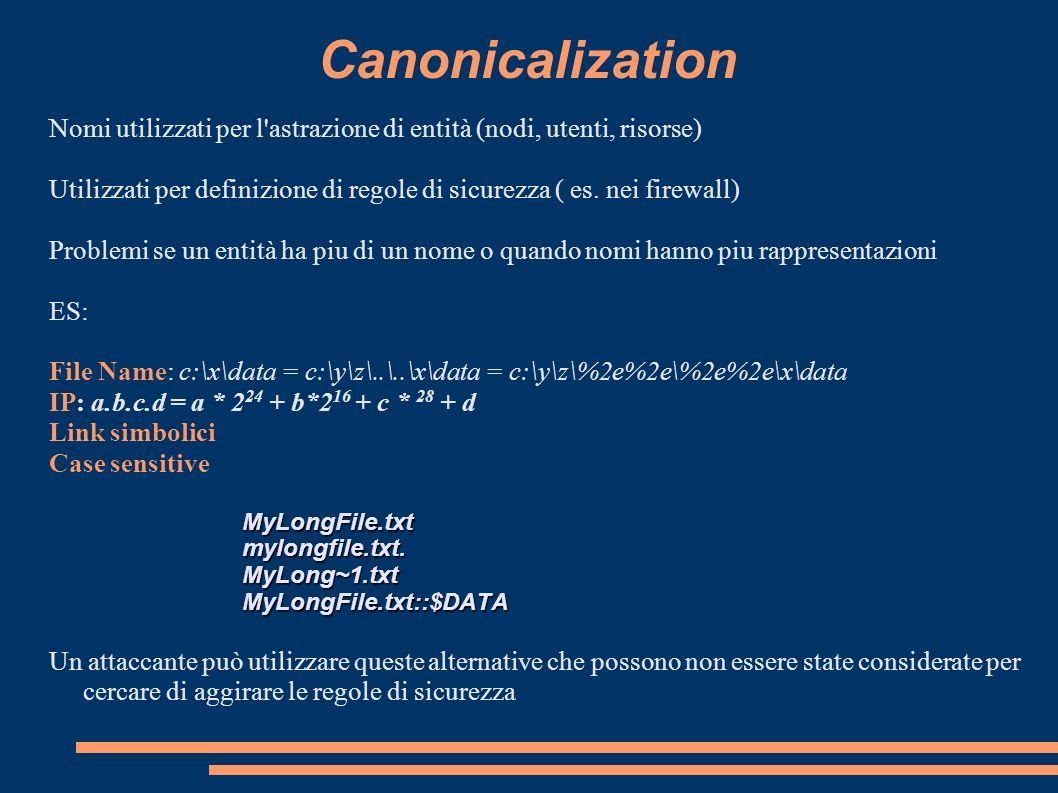 Canonicalization Nomi utilizzati per l'astrazione di entità (nodi, utenti, risorse) Utilizzati per definizione di regole di sicurezza ( es. nei firewa