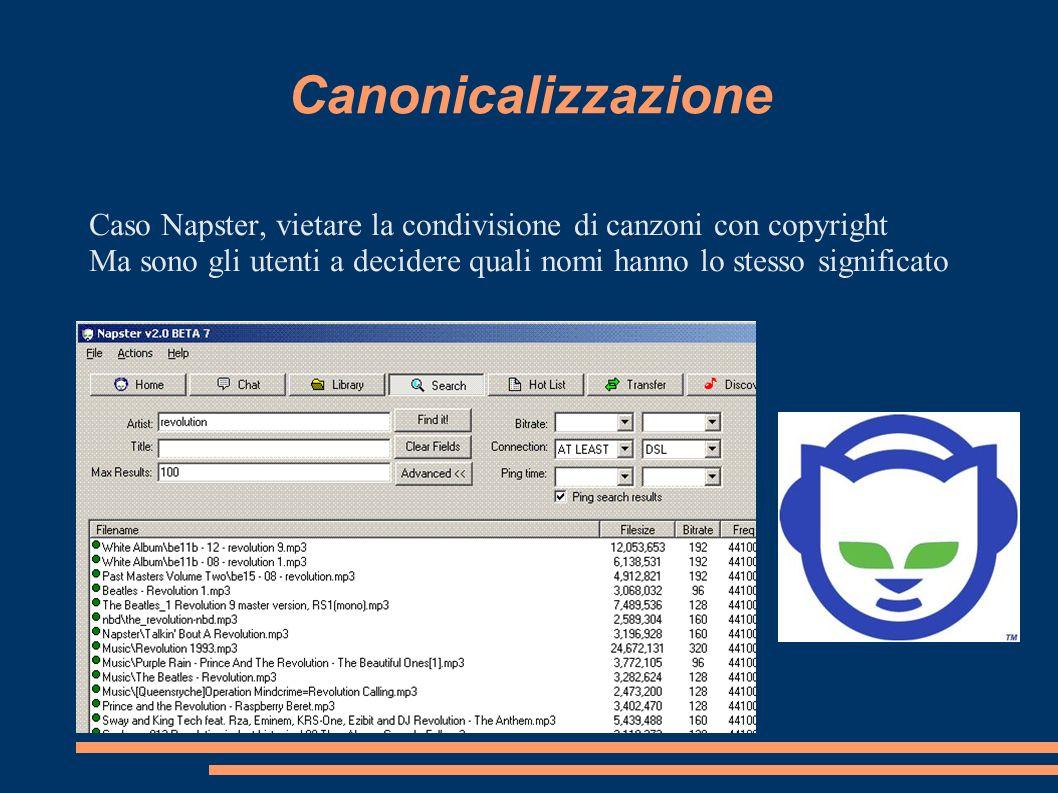 Canonicalizzazione Caso Napster, vietare la condivisione di canzoni con copyright Ma sono gli utenti a decidere quali nomi hanno lo stesso significato