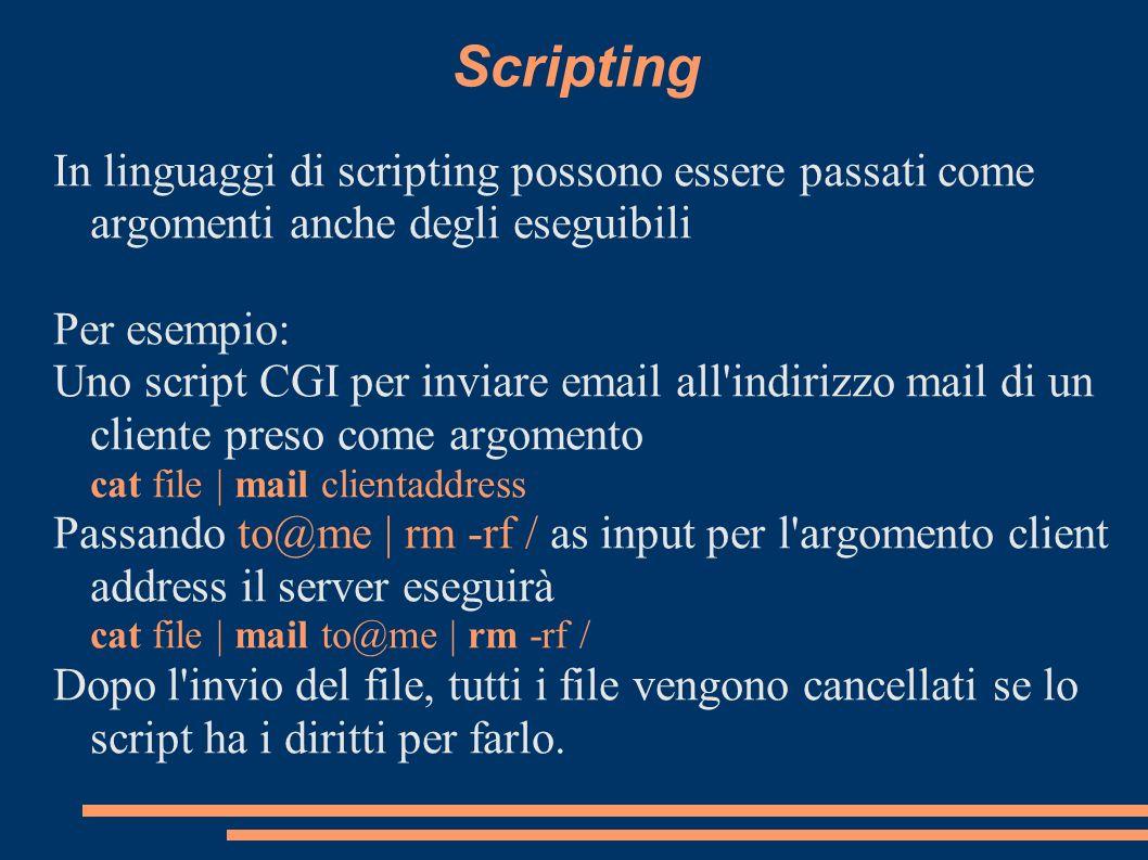 Scripting In linguaggi di scripting possono essere passati come argomenti anche degli eseguibili Per esempio: Uno script CGI per inviare email all'ind