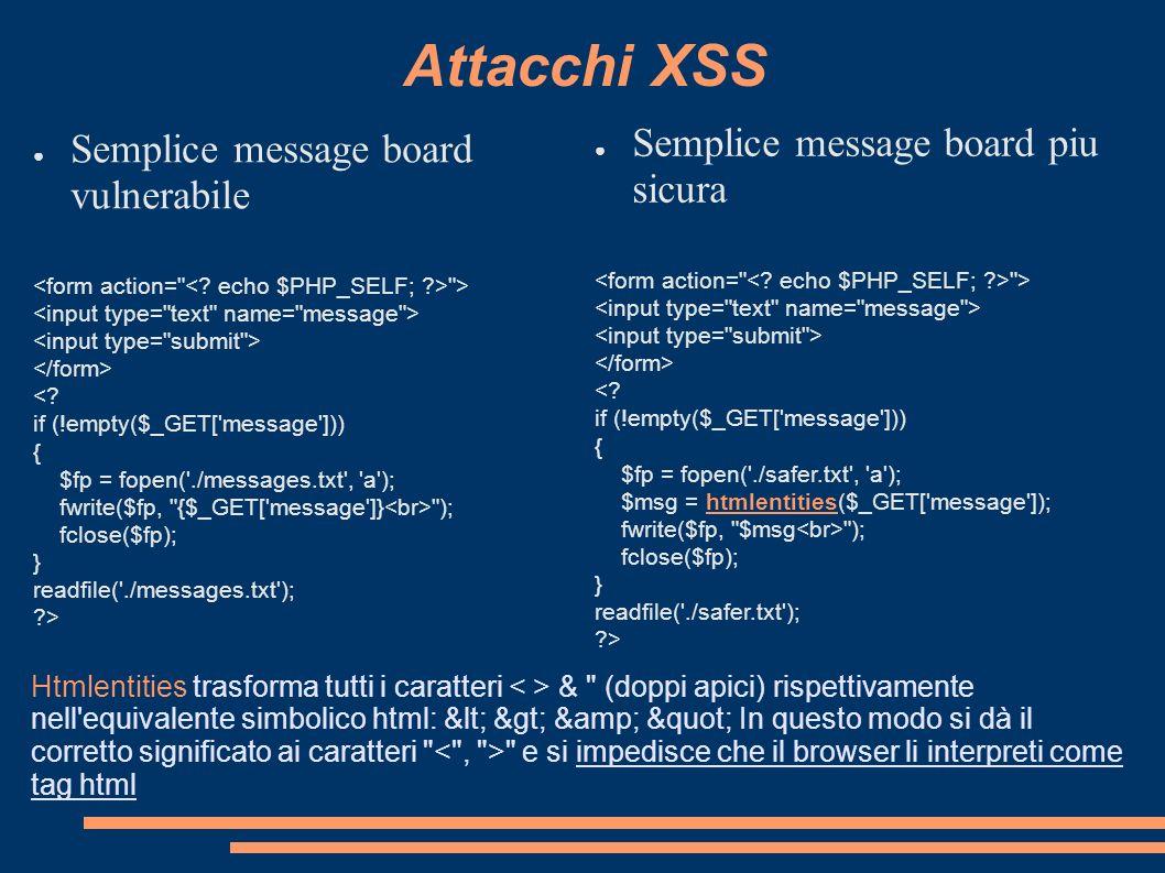 Attacchi XSS Semplice message board vulnerabile