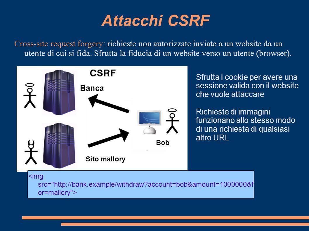 Attacchi CSRF Cross-site request forgery: richieste non autorizzate inviate a un website da un utente di cui si fida. Sfrutta la fiducia di un website