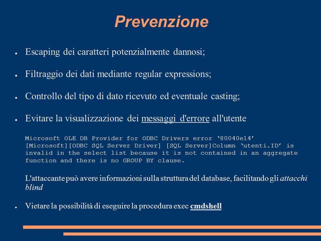 Prevenzione Escaping dei caratteri potenzialmente dannosi; Filtraggio dei dati mediante regular expressions; Controllo del tipo di dato ricevuto ed ev