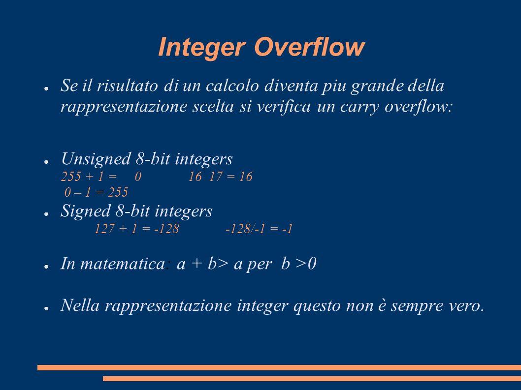 Integer Overflow Se il risultato di un calcolo diventa piu grande della rappresentazione scelta si verifica un carry overflow: Unsigned 8-bit integers