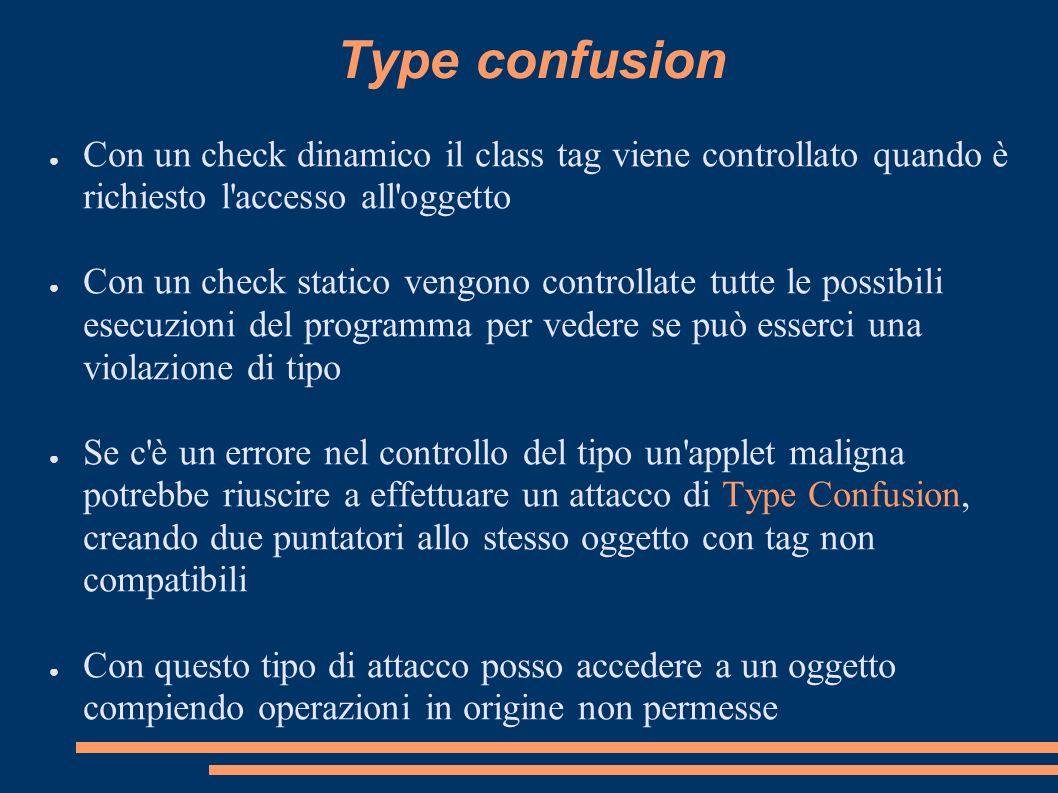 Type confusion Con un check dinamico il class tag viene controllato quando è richiesto l'accesso all'oggetto Con un check statico vengono controllate