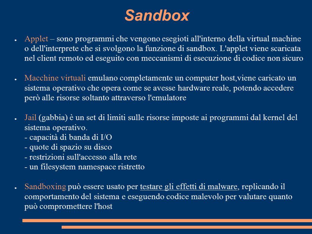 Sandbox Applet – sono programmi che vengono esegioti all'interno della virtual machine o dell'interprete che si svolgono la funzione di sandbox. L'app