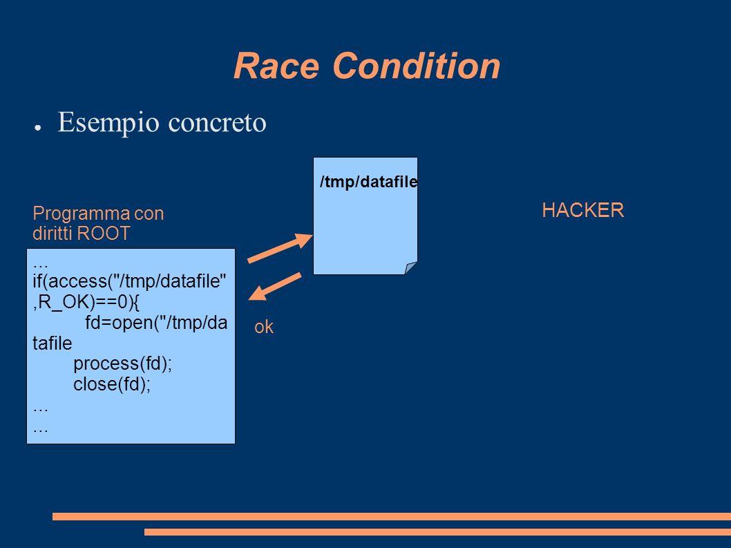 Race Condition Esempio concreto... if(access(