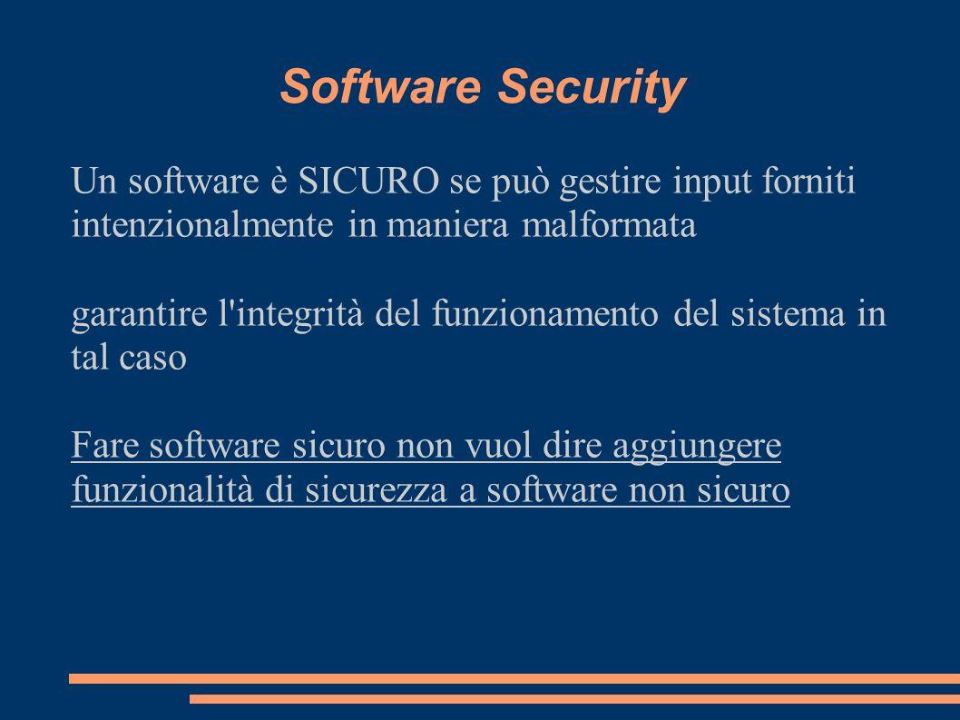 Software Security Un software è SICURO se può gestire input forniti intenzionalmente in maniera malformata garantire l'integrità del funzionamento del
