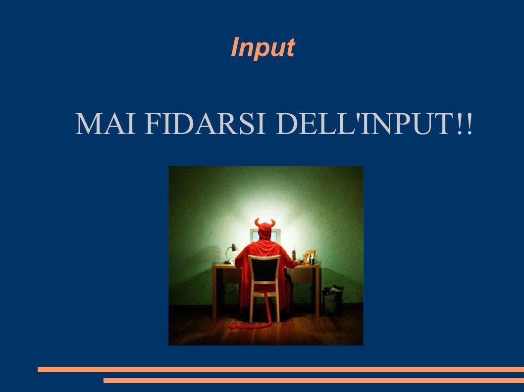 Input MAI FIDARSI DELL'INPUT!!