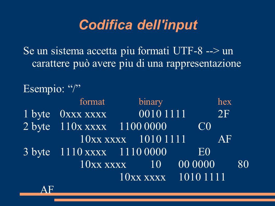 Codifica dell'input Se un sistema accetta piu formati UTF-8 --> un carattere può avere piu di una rappresentazione Esempio: / formatbinaryhex 1 byte0x