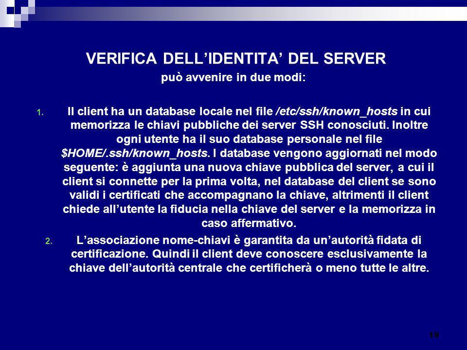 VERIFICA DELLIDENTITA DEL SERVER può avvenire in due modi: 1. Il client ha un database locale nel file /etc/ssh/known_hosts in cui memorizza le chiavi