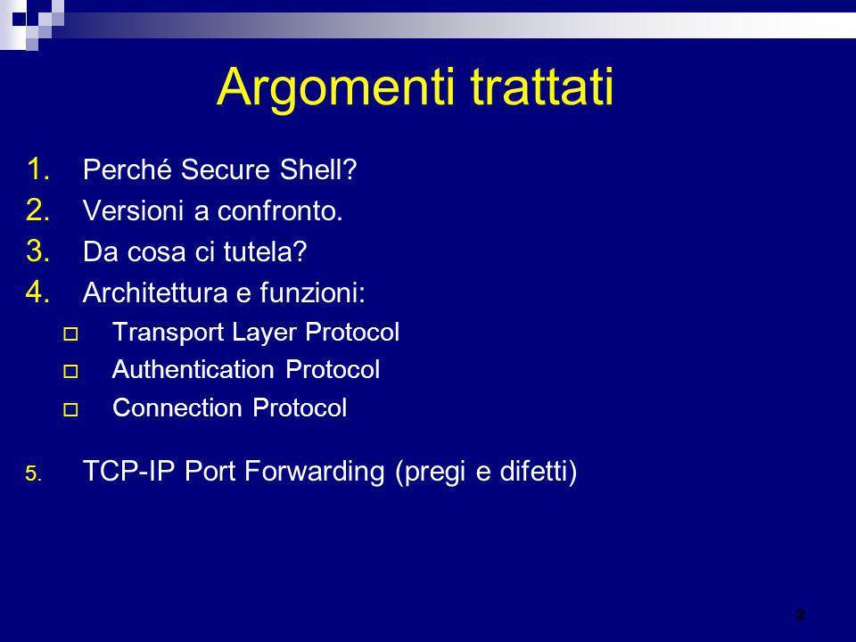 Argomenti trattati 1. Perché Secure Shell? 2. Versioni a confronto. 3. Da cosa ci tutela? 4. Architettura e funzioni: Transport Layer Protocol Authent
