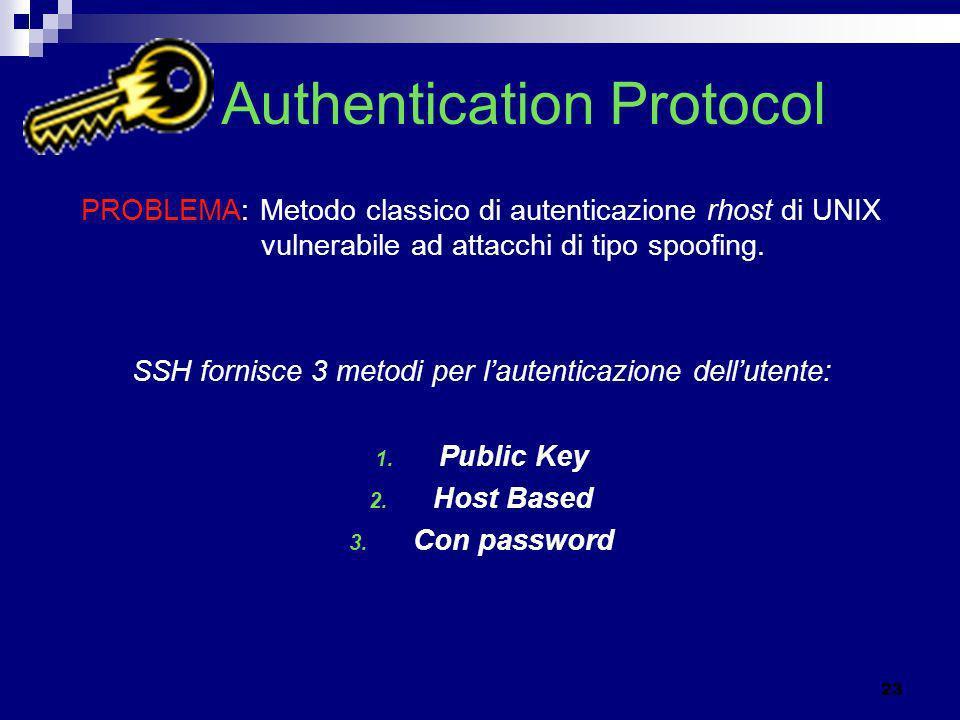 Authentication Protocol PROBLEMA: Metodo classico di autenticazione rhost di UNIX vulnerabile ad attacchi di tipo spoofing. SSH fornisce 3 metodi per