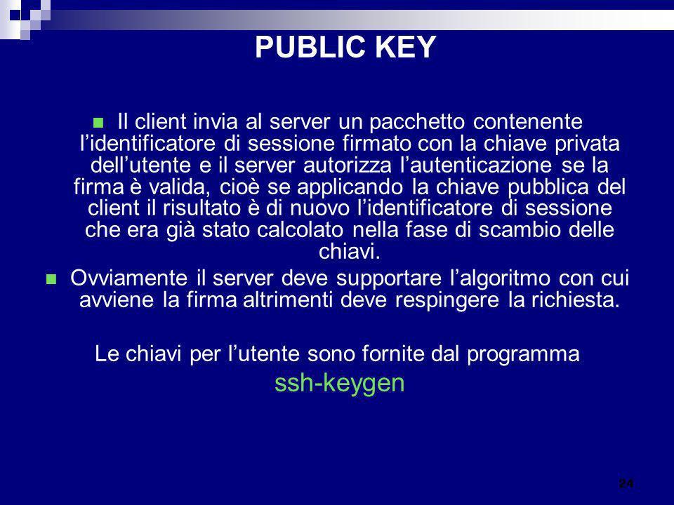 PUBLIC KEY Il client invia al server un pacchetto contenente lidentificatore di sessione firmato con la chiave privata dellutente e il server autorizz