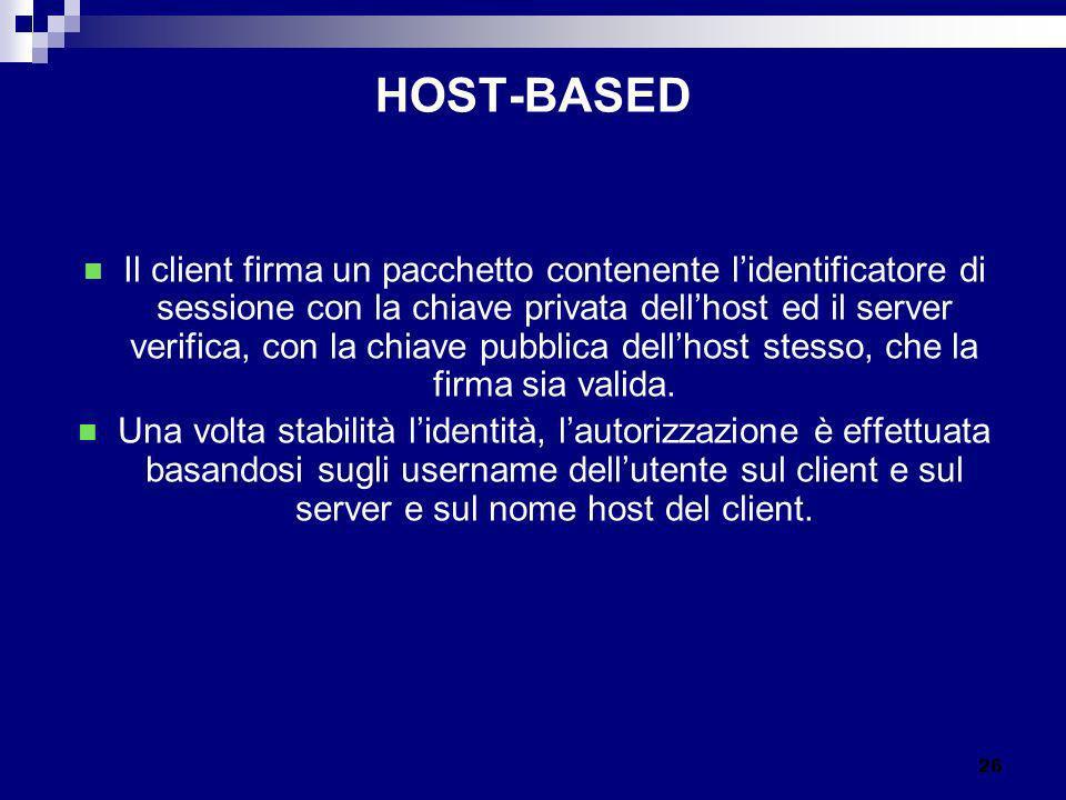 HOST-BASED Il client firma un pacchetto contenente lidentificatore di sessione con la chiave privata dellhost ed il server verifica, con la chiave pub