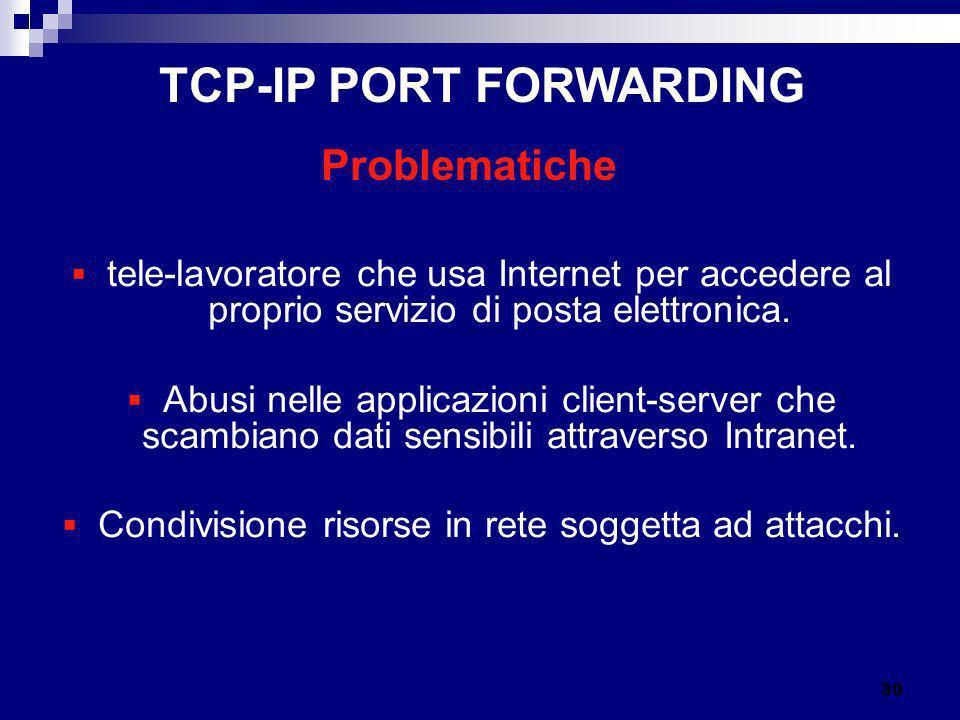 tele-lavoratore che usa Internet per accedere al proprio servizio di posta elettronica. Abusi nelle applicazioni client-server che scambiano dati sens