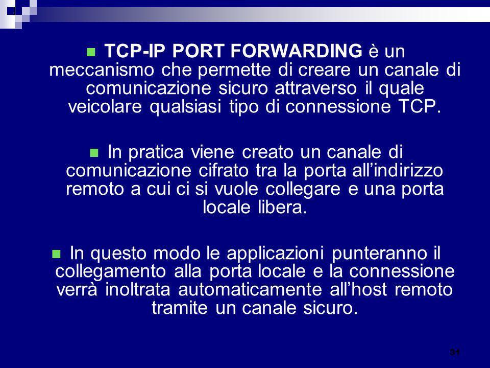 TCP-IP PORT FORWARDING è un meccanismo che permette di creare un canale di comunicazione sicuro attraverso il quale veicolare qualsiasi tipo di connes