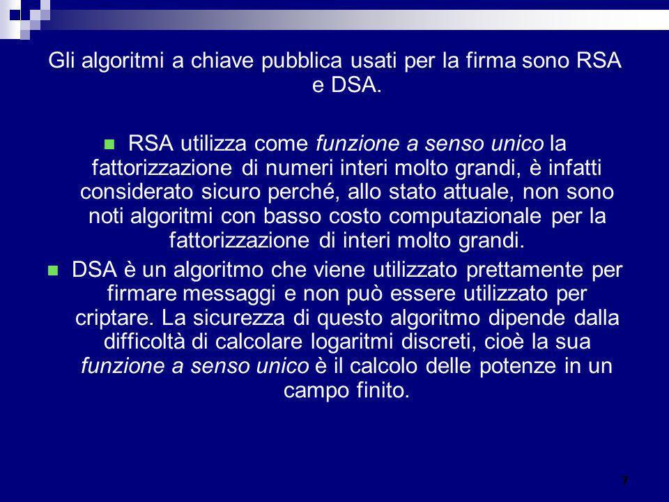 Gli algoritmi a chiave pubblica usati per la firma sono RSA e DSA. RSA utilizza come funzione a senso unico la fattorizzazione di numeri interi molto