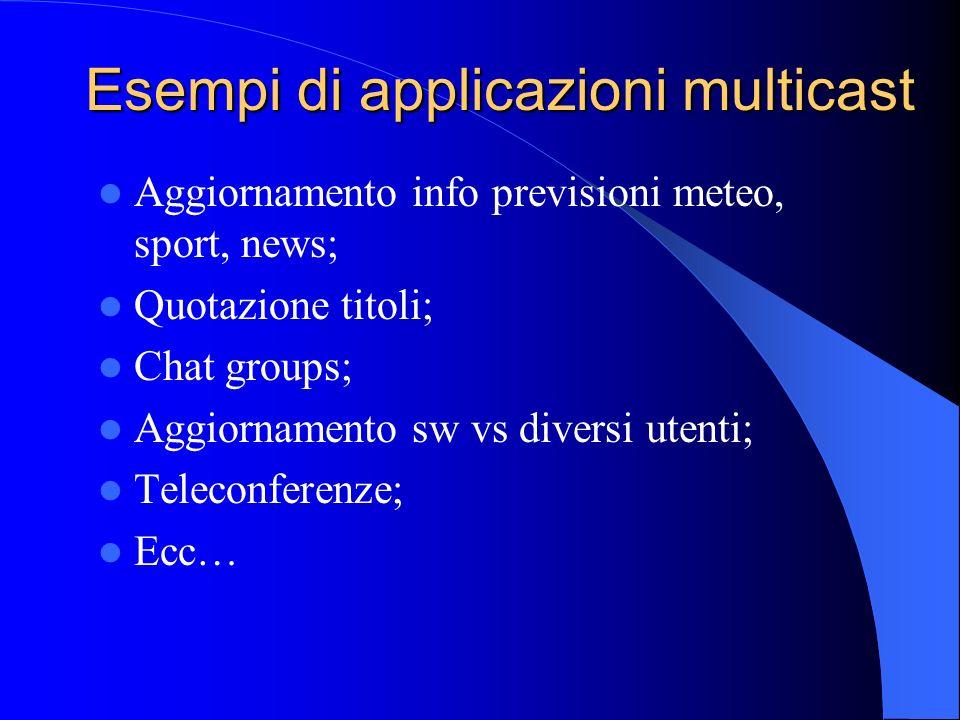 Esempi di applicazioni multicast Aggiornamento info previsioni meteo, sport, news; Quotazione titoli; Chat groups; Aggiornamento sw vs diversi utenti; Teleconferenze; Ecc…