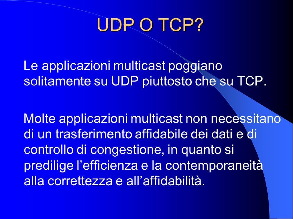 UDP O TCP? UDP O TCP? Le applicazioni multicast poggiano solitamente su UDP piuttosto che su TCP. Molte applicazioni multicast non necessitano di un t