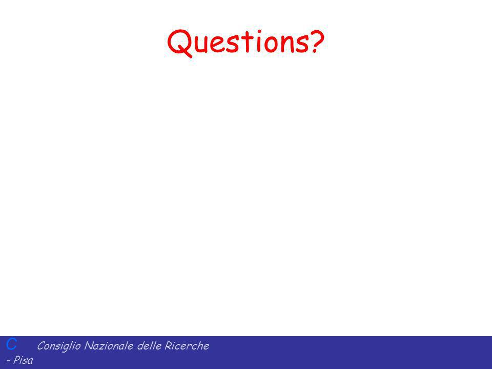 C Consiglio Nazionale delle Ricerche - Pisa Iit Istituto di Informatica e Telematica Questions?