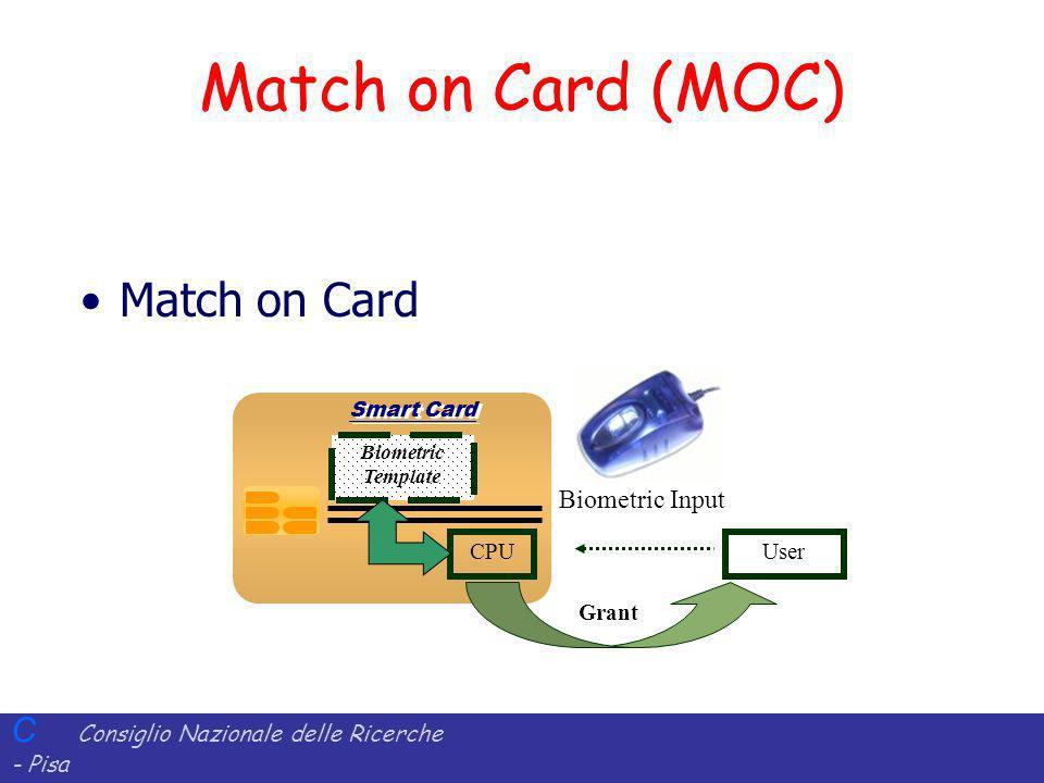 C Consiglio Nazionale delle Ricerche - Pisa Iit Istituto di Informatica e Telematica Smart Card Biometric Template Match on Card (MOC) Match on Card User CPU Grant Biometric Input