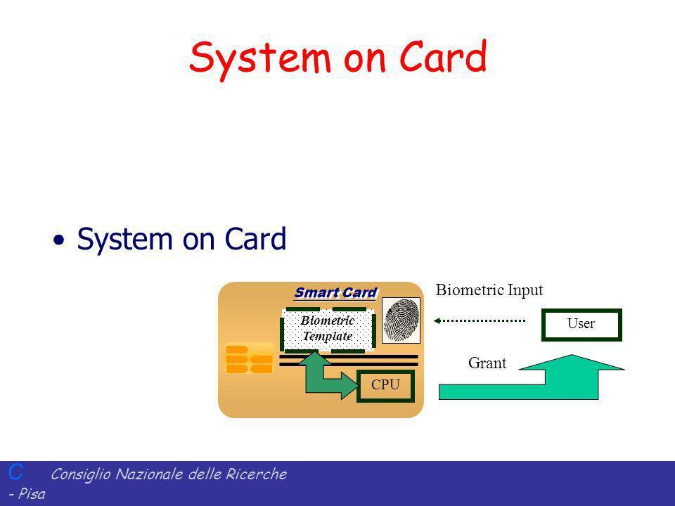 C Consiglio Nazionale delle Ricerche - Pisa Iit Istituto di Informatica e Telematica System on Card User Biometric Input Smart Card CPU Biometric Temp