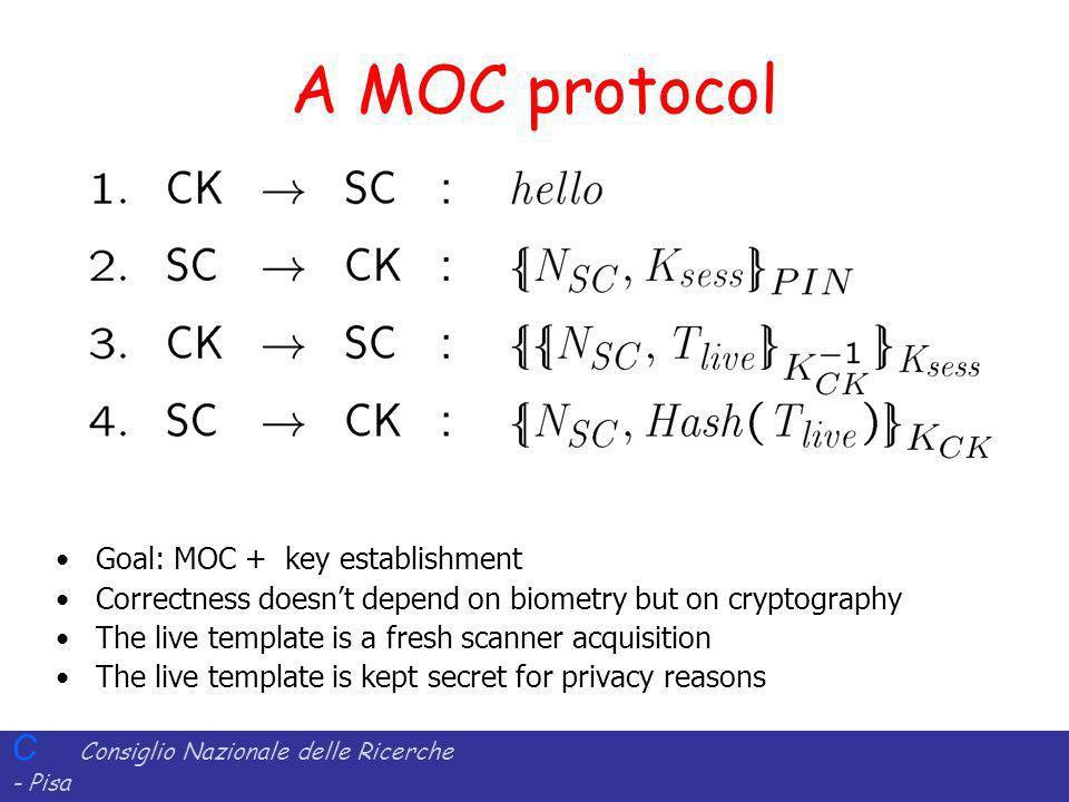 C Consiglio Nazionale delle Ricerche - Pisa Iit Istituto di Informatica e Telematica A MOC protocol Goal: MOC + key establishment Correctness doesnt d