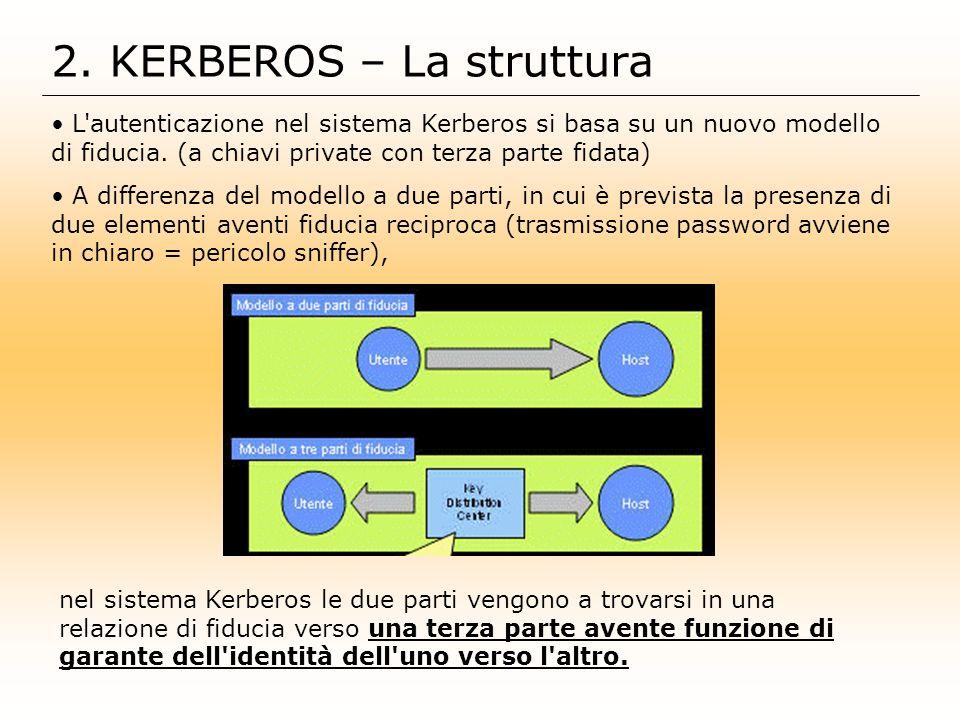 2. KERBEROS – La struttura L'autenticazione nel sistema Kerberos si basa su un nuovo modello di fiducia. (a chiavi private con terza parte fidata) A d