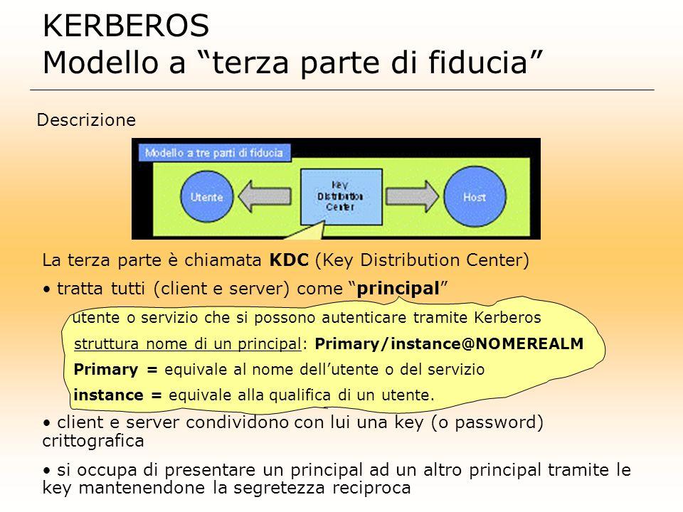 KERBEROS Modello a terza parte di fiducia Descrizione La terza parte è chiamata KDC (Key Distribution Center) tratta tutti (client e server) come prin