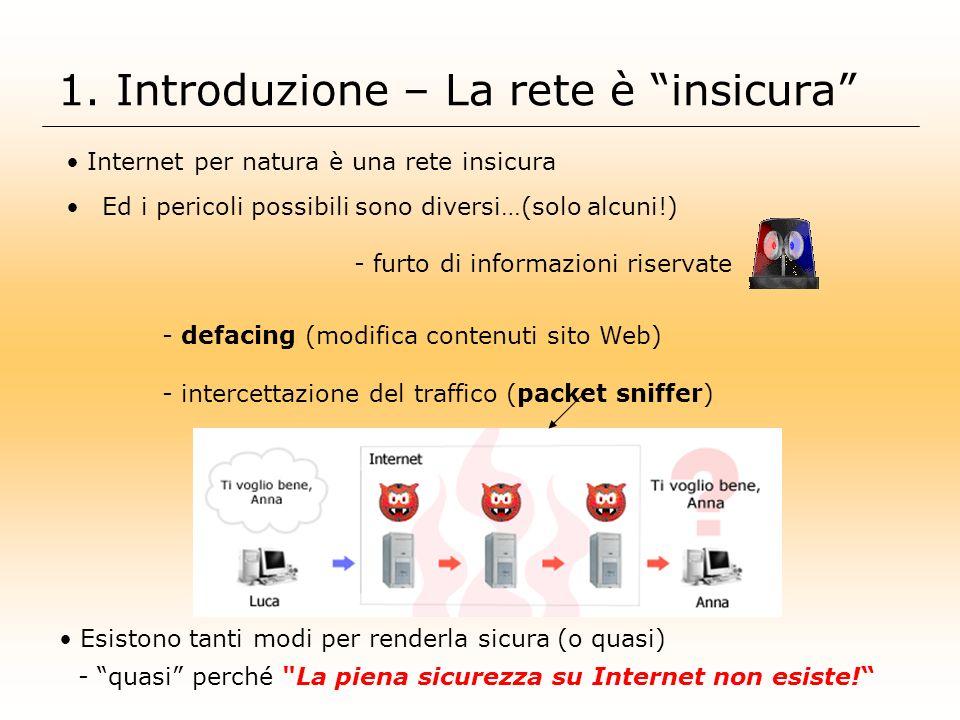 1. Introduzione – La rete è insicura Esistono tanti modi per renderla sicura (o quasi) - quasi perché