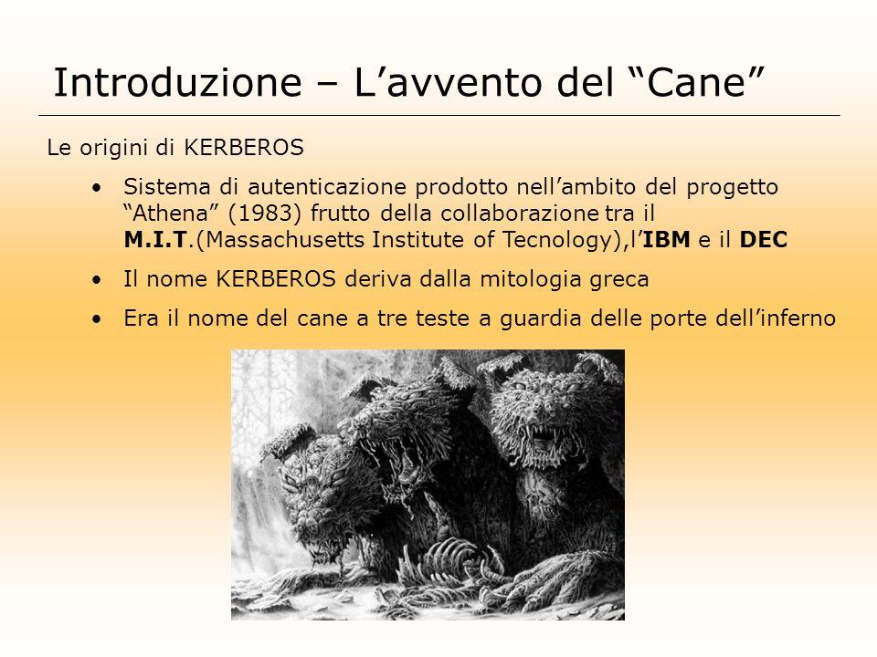 Introduzione – Lavvento del Cane Le origini di KERBEROS Sistema di autenticazione prodotto nellambito del progetto Athena (1983) frutto della collabor