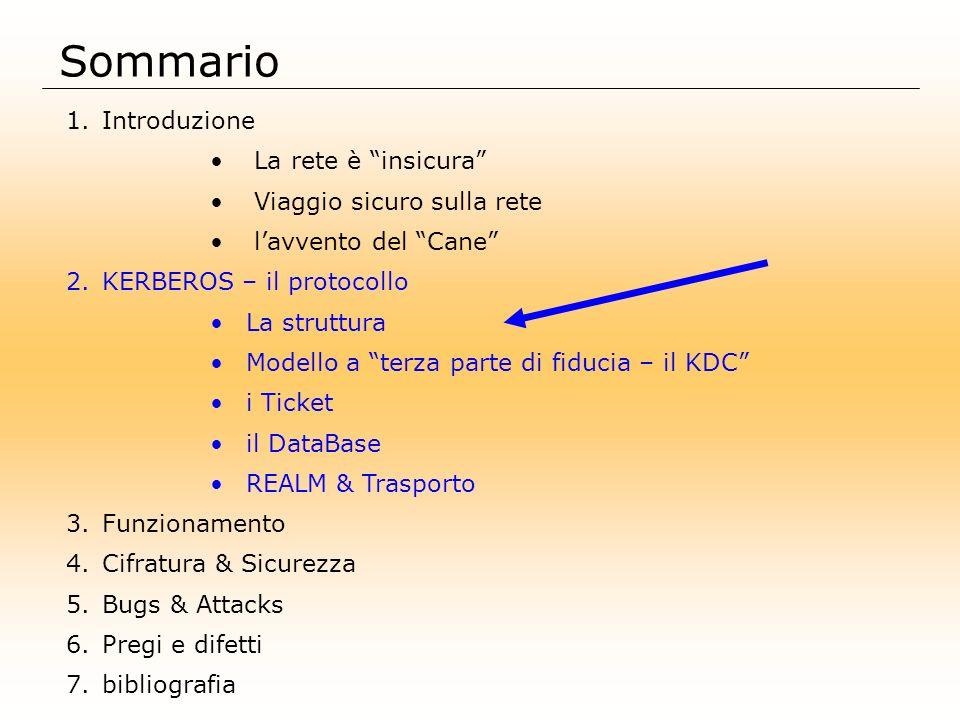 Sommario 1.Introduzione La rete è insicura Viaggio sicuro sulla rete lavvento del Cane 2.KERBEROS – il protocollo La struttura Modello a terza parte d