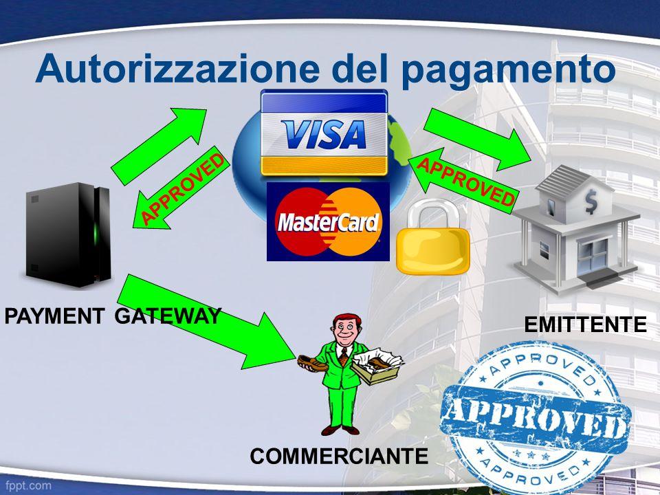 Autorizzazione del pagamento EMITTENTE APPROVED PAYMENT GATEWAY COMMERCIANTE