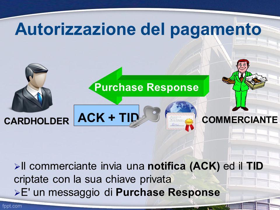 Autorizzazione del pagamento CARDHOLDER COMMERCIANTE Il commerciante invia una notifica (ACK) ed il TID criptate con la sua chiave privata E' un messa