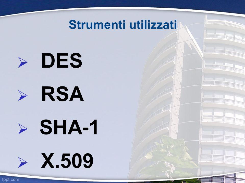 Strumenti utilizzati DES RSA SHA-1 X.509