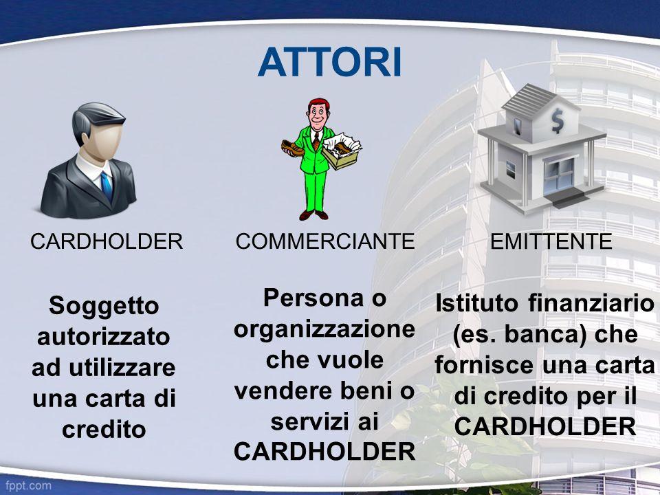 ATTORI CARDHOLDER Soggetto autorizzato ad utilizzare una carta di credito COMMERCIANTE Persona o organizzazione che vuole vendere beni o servizi ai CA