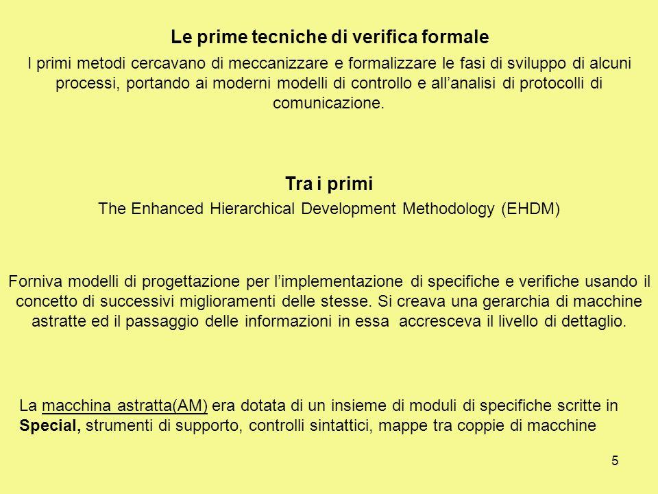 5 Le prime tecniche di verifica formale I primi metodi cercavano di meccanizzare e formalizzare le fasi di sviluppo di alcuni processi, portando ai moderni modelli di controllo e allanalisi di protocolli di comunicazione.
