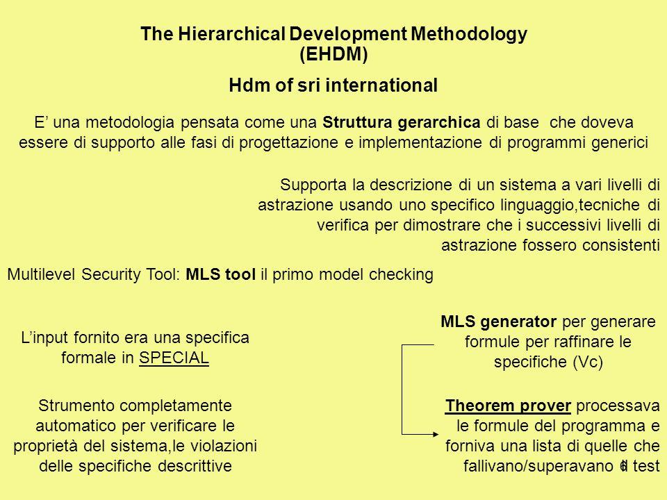 6 The Hierarchical Development Methodology (EHDM) Hdm of sri international E una metodologia pensata come una Struttura gerarchica di base che doveva essere di supporto alle fasi di progettazione e implementazione di programmi generici Supporta la descrizione di un sistema a vari livelli di astrazione usando uno specifico linguaggio,tecniche di verifica per dimostrare che i successivi livelli di astrazione fossero consistenti Multilevel Security Tool: MLS tool il primo model checking Linput fornito era una specifica formale in SPECIAL Strumento completamente automatico per verificare le proprietà del sistema,le violazioni delle specifiche descrittive MLS generator per generare formule per raffinare le specifiche (Vc) Theorem prover processava le formule del programma e forniva una lista di quelle che fallivano/superavano il test