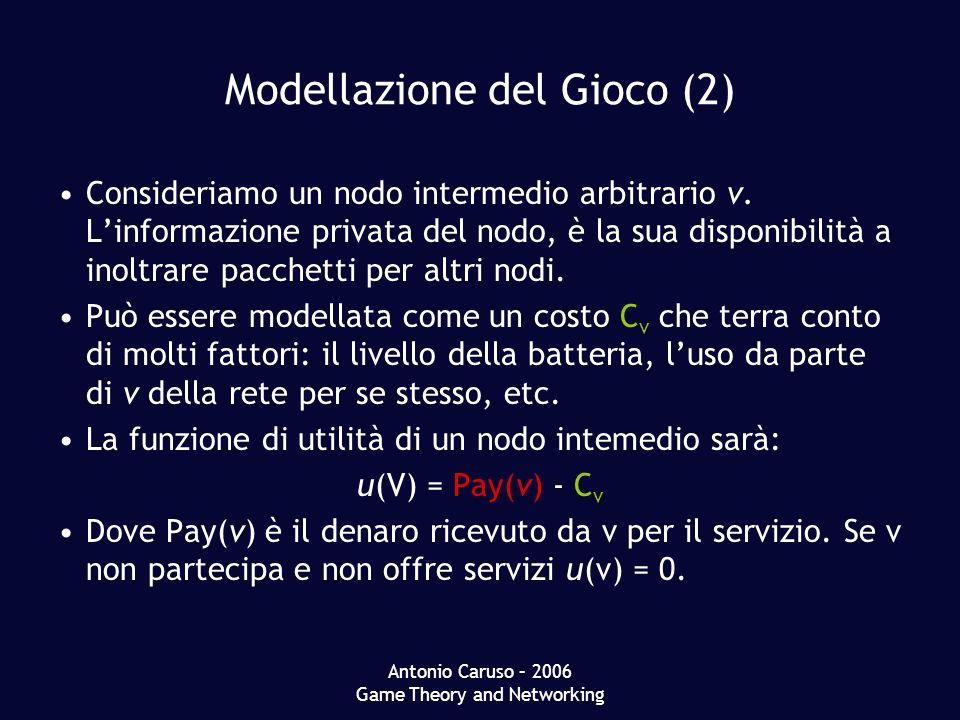 Antonio Caruso – 2006 Game Theory and Networking Modellazione del Gioco (2) Consideriamo un nodo intermedio arbitrario v. Linformazione privata del no