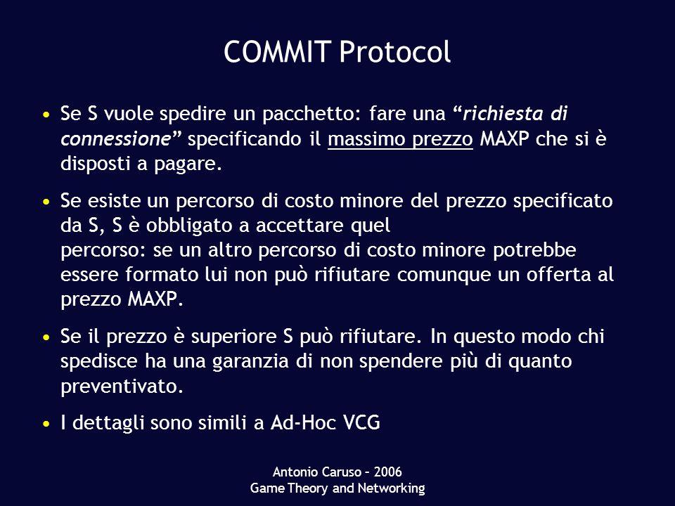Antonio Caruso – 2006 Game Theory and Networking COMMIT Protocol Se S vuole spedire un pacchetto: fare una richiesta di connessione specificando il massimo prezzo MAXP che si è disposti a pagare.