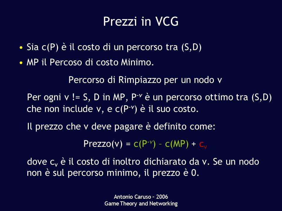 Antonio Caruso – 2006 Game Theory and Networking Prezzi in VCG Sia c(P) è il costo di un percorso tra (S,D) MP il Percoso di costo Minimo.