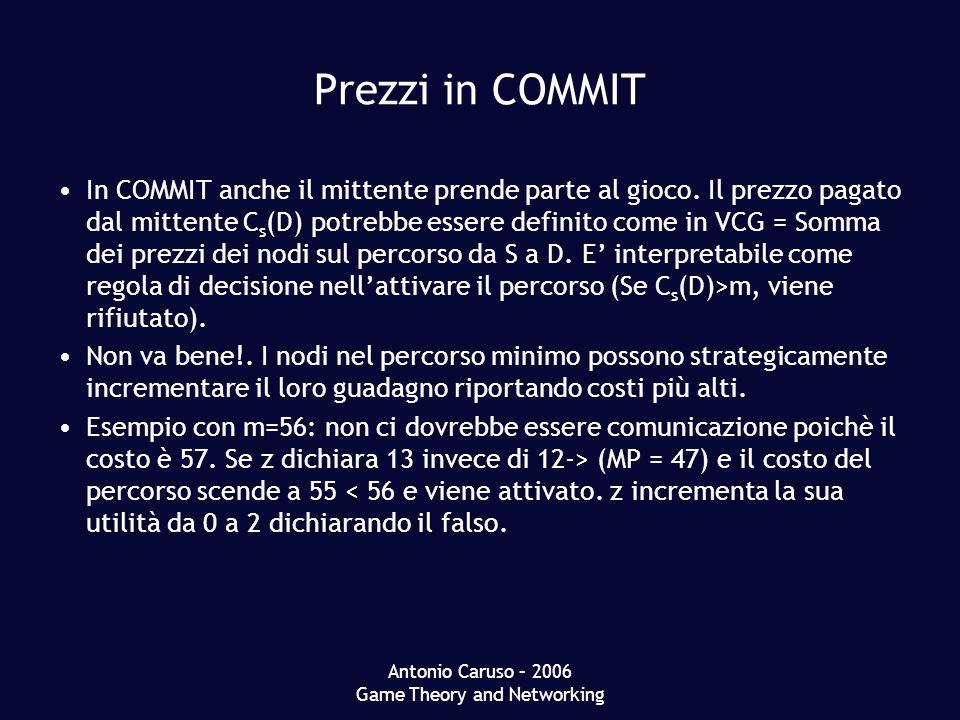 Antonio Caruso – 2006 Game Theory and Networking Prezzi in COMMIT In COMMIT anche il mittente prende parte al gioco. Il prezzo pagato dal mittente C s