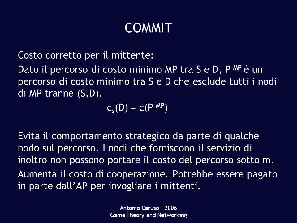 Antonio Caruso – 2006 Game Theory and Networking COMMIT Costo corretto per il mittente: Dato il percorso di costo minimo MP tra S e D, P -MP è un percorso di costo minimo tra S e D che esclude tutti i nodi di MP tranne (S,D).