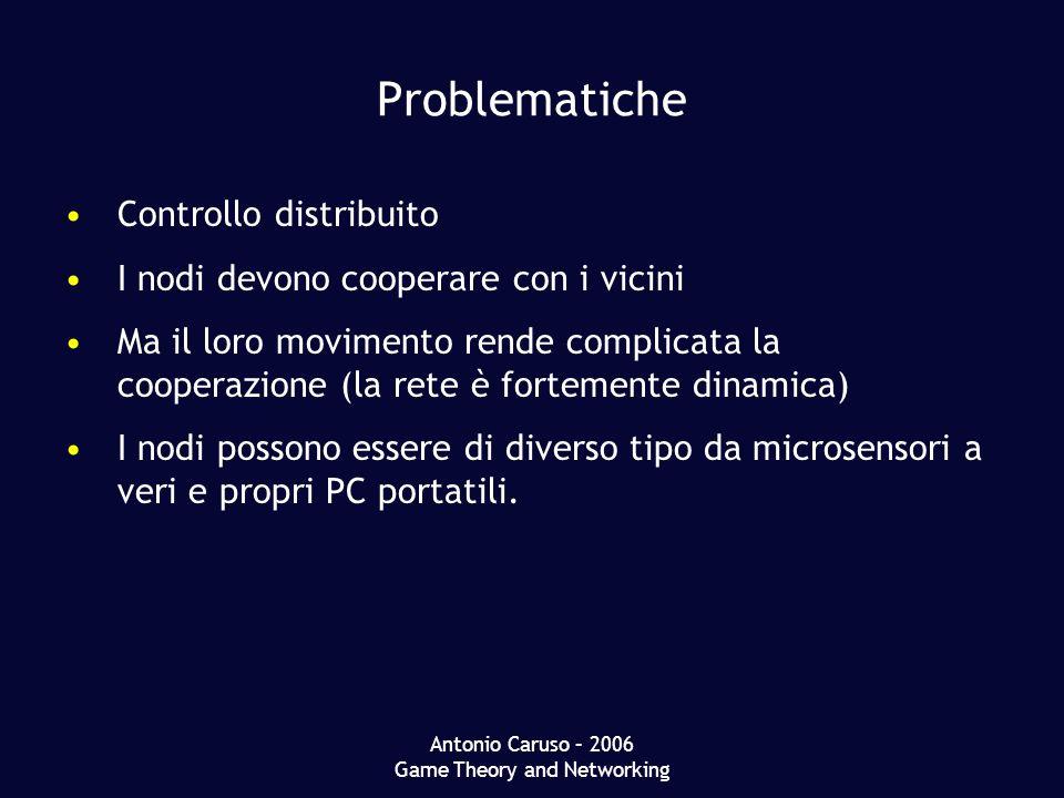 Antonio Caruso – 2006 Game Theory and Networking Problematiche Controllo distribuito I nodi devono cooperare con i vicini Ma il loro movimento rende complicata la cooperazione (la rete è fortemente dinamica) I nodi possono essere di diverso tipo da microsensori a veri e propri PC portatili.