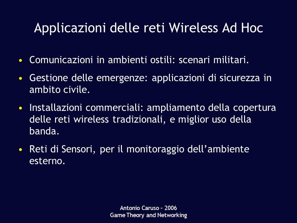 Antonio Caruso – 2006 Game Theory and Networking Applicazioni delle reti Wireless Ad Hoc Comunicazioni in ambienti ostili: scenari militari.