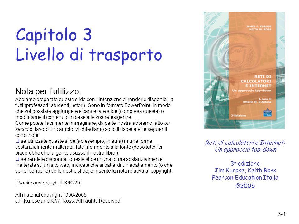 3-1 Capitolo 3 Livello di trasporto Reti di calcolatori e Internet: Un approccio top-down 3 a edizione Jim Kurose, Keith Ross Pearson Education Italia