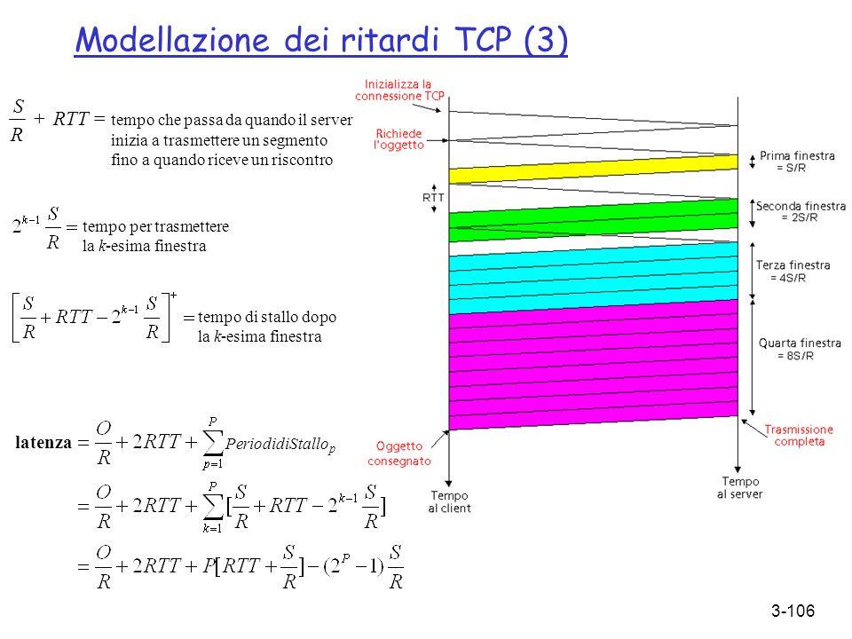 3-106 Modellazione dei ritardi TCP (3) RTT = tempo che passa da quando il server inizia a trasmettere un segmento fino a quando riceve un riscontro R