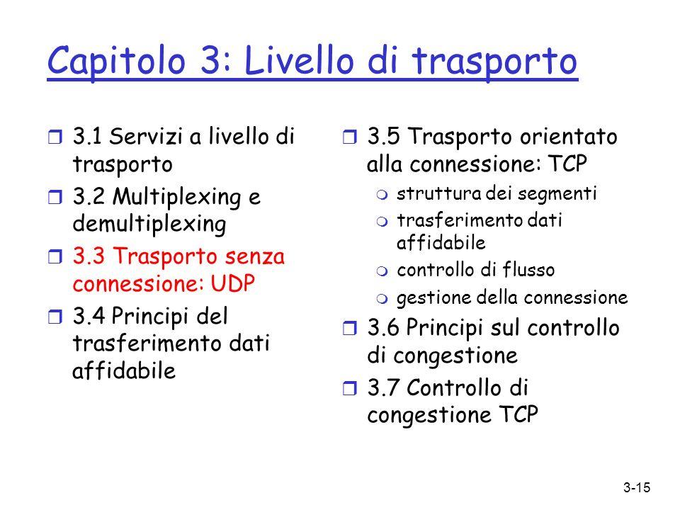 3-15 Capitolo 3: Livello di trasporto r 3.1 Servizi a livello di trasporto r 3.2 Multiplexing e demultiplexing r 3.3 Trasporto senza connessione: UDP