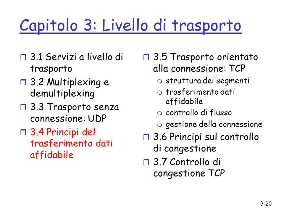 3-20 Capitolo 3: Livello di trasporto r 3.5 Trasporto orientato alla connessione: TCP m struttura dei segmenti m trasferimento dati affidabile m contr
