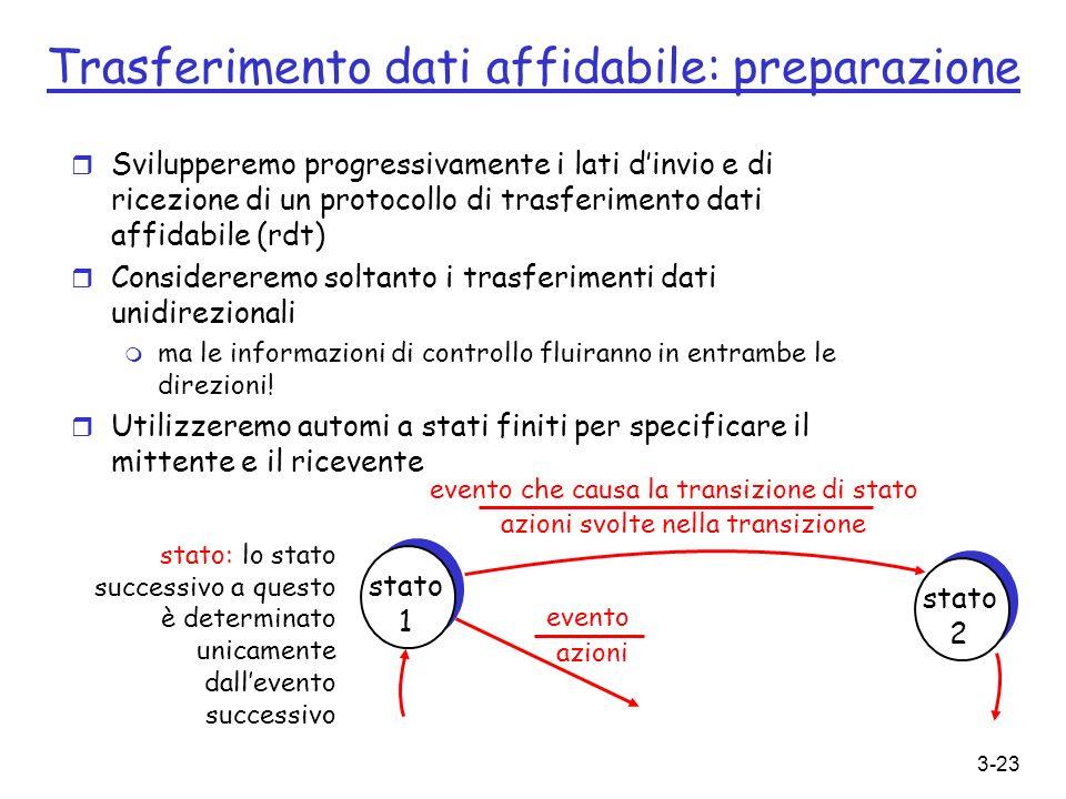3-23 r Svilupperemo progressivamente i lati dinvio e di ricezione di un protocollo di trasferimento dati affidabile (rdt) r Considereremo soltanto i t